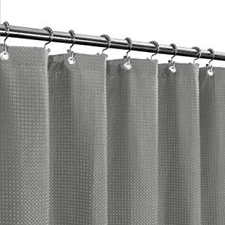 Best Stall Shower Curtain Fabric 36 x 72 inches, Waffle Weave, Hotel Luxury Spa, 230 GSM Heavy Duty, Water Repellent, Gray Pique Pattern Decorative Bathroom Curtain Reviews