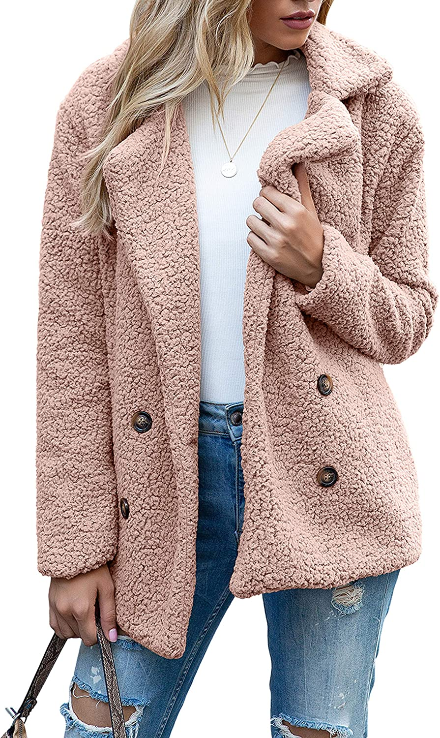 Uaneo Womens Casual Sherpa Double Breasted Notched Lapel Long Sleeve Pea Coats(Pink-S)