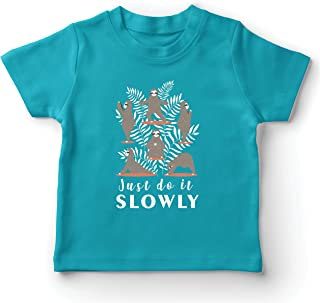 lepni.me Kids T-Shirt Just Do It Slowly Lazy Sloth Yoga Poses Funny Quote