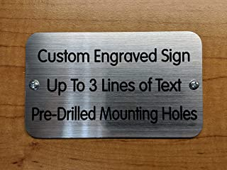 Custom Engraved 3x5 Sign with Mounting Holes + Screws   Brushed Metal Finish   Fence-Mount, Shed Garage Shop Garden Landscape Deck Built by Plaque Trophy (Brushed Silver)