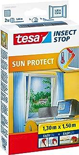 tesa Insect Stop Sun Protect Moskitiera Przeciwsłoneczna na Okno, Siatka Przeciw Owadom, Antracyt, 130 cm x 150 cm