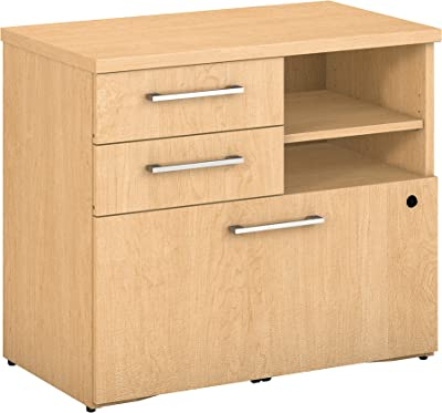Bush Business Furniture 400 Series 30W Piler Filer Cabinet in Natural Maple