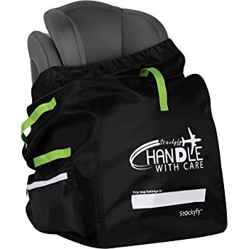 Car Seat Travel Bag with Pouch – Black – Adjustable Straps Backpack – Gate Check Bag for Car Seats for Air Travel with Baby – Protector Cover Infant Carriers & Boosters