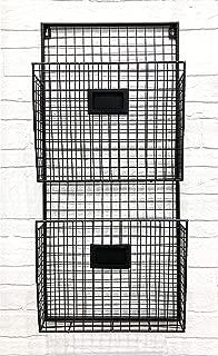 Designstyles Black Metal Wall Double File Holder