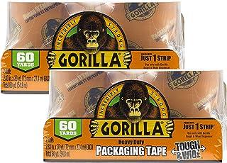 """Gorilla Verpakking Tape Tough & Wide Refill voor Verplaatsen, Verzending en Opslag, 2,8 """"x 30 yd, 2 Rolls (Pack van 2)"""