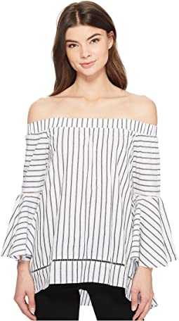 Off the Shoulder High-Low Blouse