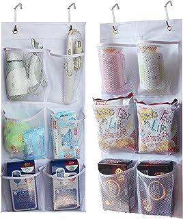 2 Pack - KIMBORA 6 Large Mesh Pockets Closet Door Hanging Shoe Rack Organizer Narrow Shoe Holder Over Door, White (13.7'' ...