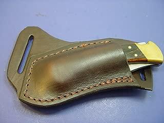 Custom Leather Left Hand Cross Draw Pocket Knife Sheath Far a Buck 110 Are 112