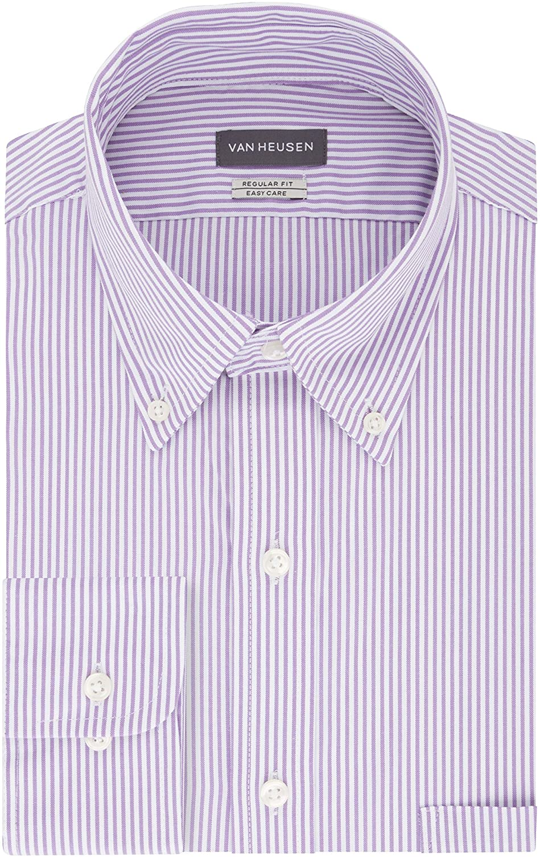 1960s Mens Shirts | 60s Mod Shirts, Hippie Shirts Van Heusen Mens Dress Shirt Regular Fit Pinpoint Stripe  AT vintagedancer.com