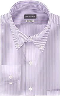 Van Heusen Men's Pinpoint Regular Fit Stripe Button Down Collar Dress Shirt