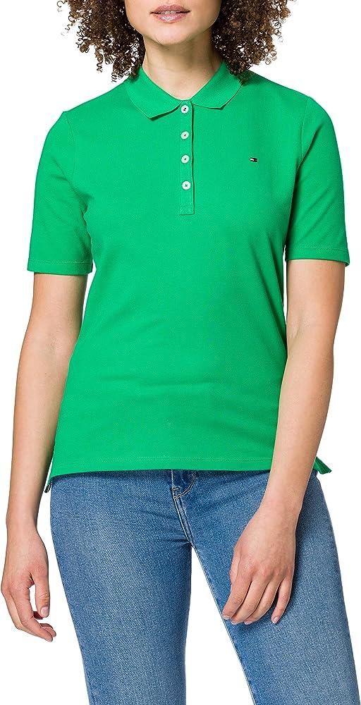 Tommy hilfiger  polo,maglietta per donna a maniche corte,96% cotone, 4% elastan TH ESSENTIAL REG POLO SS