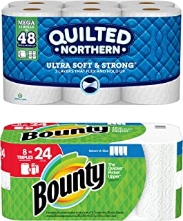Quilted Northern Ultra Soft & Strong Toilet Paper, 12 Mega Rolls bundle with Bounty Select-A-Size Paper Towels, White, 8 Triple Rolls = 24 Regular Rolls