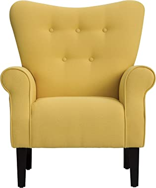 Merax Modern Upholstered Accent Chair Armchair for Bedroom, Living Room or Office, Linen, Including Thick Cushion and Wooden