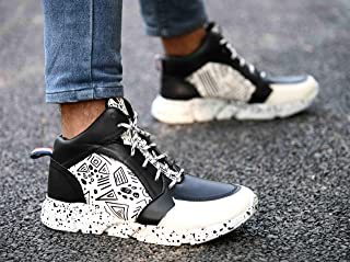 Big Fox Mens White Magic High Top Sneakers for Daily and Casual Wear