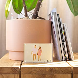Acrylic Photo Frames 4x6 (3 Pack) Standing, Horizontal, Clear Acrylic Frames 4x6 with Magnets, Magnetic Picture Frames, Double Sided Frameless for Desktop, Coffee Table Display (20mm Thickness)
