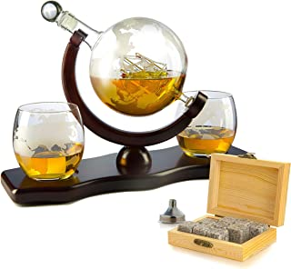 Whiskey Decanter Set Globe with 2 Etched Globe Whisky Glasses – Comes With Whiskey..