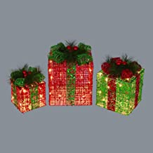 Northlight Set of 3 Lighted Red and Green Glitter Gift Box Christmas Outdoor Decorations 12