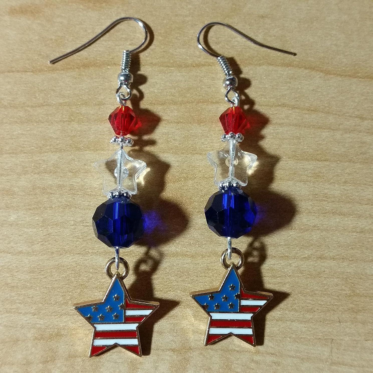 American Flag USA Patriotic Days Earrings - Handmade Beaded Dangle Drop Earrings