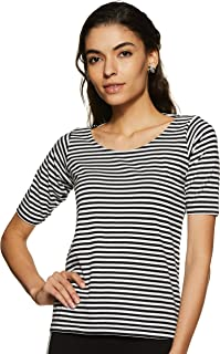 Miss Chase Womens Navy Blue and White Striped Top