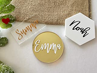 Acrylic Wedding Place Cards Personalized Geometric Mirrored Laser Cut Plate Guest Names Script Escort Cards Custom Place Settings Hexagon Circle Rectangle Shape Wedding Tags Calligraphy Table Signs