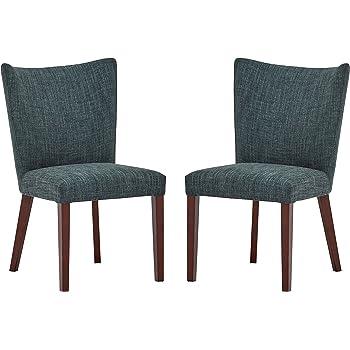 Marque Amazon Rivet Tina Lot de 2 chaises de salle à manger modernes à dossier arrondi, hauteur 91,5 cm, Bleu marine