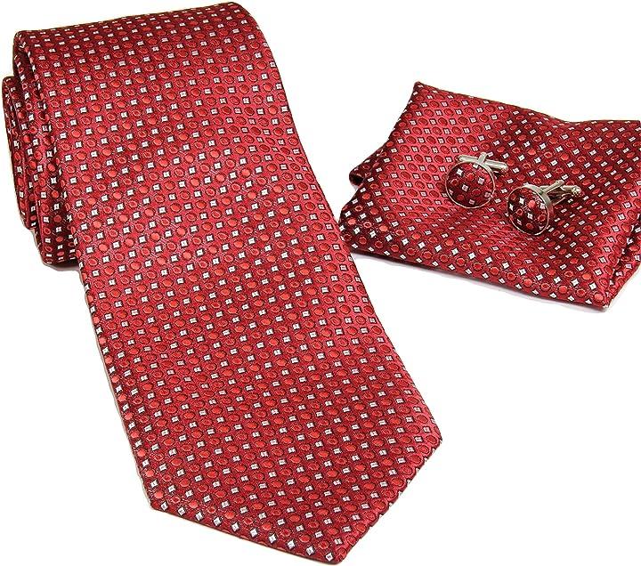 Cravatta rossa 100% seta nella scatola regalo monetti set B709