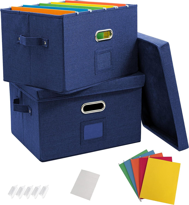 Trust JSungo 2 Pack File Organizer Box Office Max 51% OFF Storage with Li Document