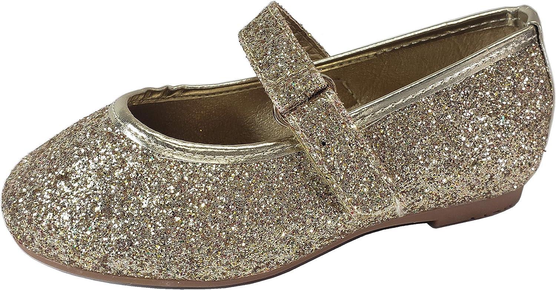 Wells Collection Little Girls Baby Mary Jane Ballerina Dress Slip On Glitter Ballet, (Gold) Rose Gold, 5 Toddler