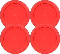 Pyrex 2 Cup Round Storage Cover #7200-PC for Glass Bowls (4, Red)