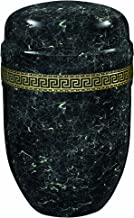 Urns UK Adult Cremation Ashes Metal Urn Steel-Purley Black Marble with Band, White, 18.2x18.2x27.6 cm