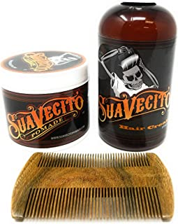 Suavecito Hair Cream and Pomade Bundle with Sandalwood Wooden Comb