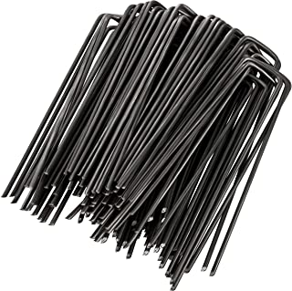 GardenMate 100-Pack 6'' 11 Gauge Heavy-Duty U-Shaped Garden Securing Stakes/Spikes/Pins/Pegs - Sod Staples for Anchoring Landscape Fabric, Many More Applications