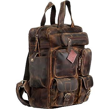 Ruzioon Vintage Buffalo Leather Backpack Multi Pockets Travel Bag for Men/Women