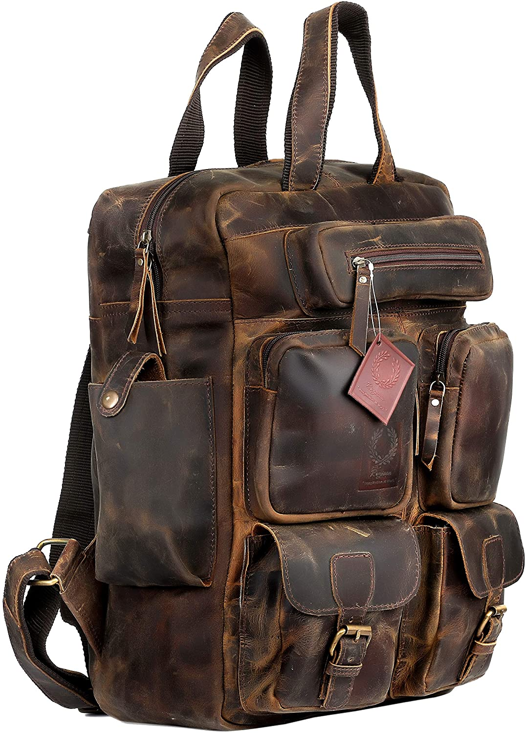 Ruzioon Vintage New product! New type Buffalo Leather Backpack Pockets Ba Multi Max 70% OFF Travel