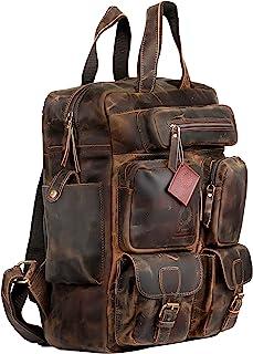 Ruzioon Mochila de piel de búfalo vintage con múltiples bolsillos para hombre y mujer
