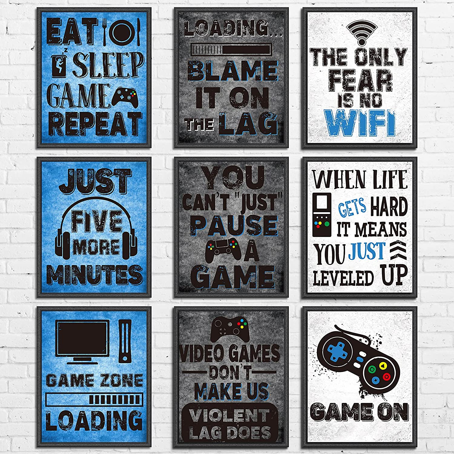 """9 Pieces Video Game Themed Wall Art Print Poster, Game Themed Art Sign Print Room Wall Decoration Gift for Boys Bedroom Game Room Decorations Playroom Birthday Party Decor, No Frames 8"""" X 10"""""""