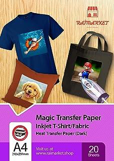Hierro sobre papel de transferencia para tela oscura (Magic Paper) de Raimarket | 20 hojas | A4 Transferencia de hierro para inyección de tinta en papel / camiseta