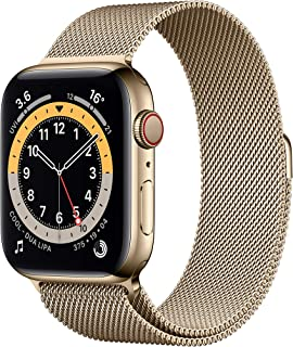 New AppleWatch Series 6 (GPS + Cellular, 44mm) - Gold Stainless Steel Case with Gold Milanese Loop