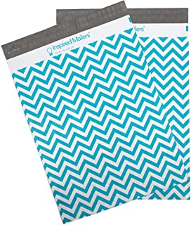 Inspired Mailers - Poly Mailers 10x13 - Blue Chevron - Choose from 6x9, 10x13 and 14.5x19 Sizes - 3.15mil Unpadded Mailing Bags (10x13, 100 Pack)