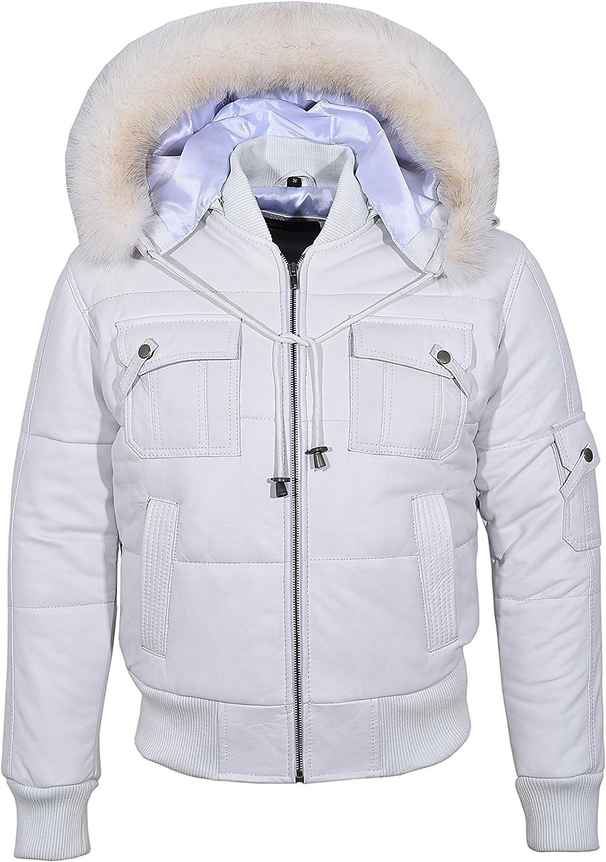 Men's Puffers Hooded Leather Jacket 100% Lambskin Bomber Style Pilot 6 Puffer