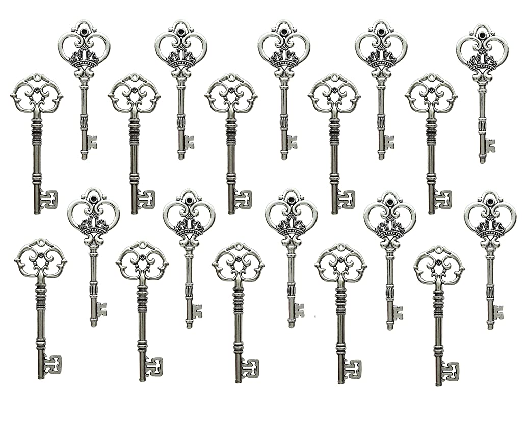 Vintage Steampunk Skeleton Keys Charm Set in Antique Silver and Bronze Pack of 20 Keys (A1840&1094)