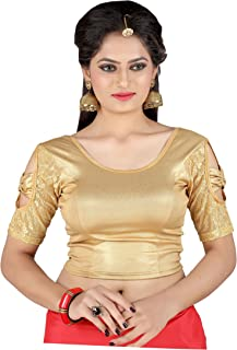 1472e00025669b CDPL Express Women's Cotton Stretchable U Neck Shimmer Readymade Blouse  (30-38, Golden