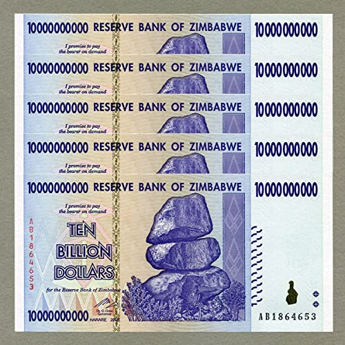 RBZ Collectibles Zimbabwe 10 Billion Dollars x 5 pcs 2008 P85 Consecutive UNC Currency Bills