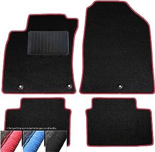 moto MOLTICO Fußmatten Auto Velours Autoteppiche Schwarz Automatten Set 4 teilig passend für Kia Optima II ab 2015 (Rote   Ziernähte)