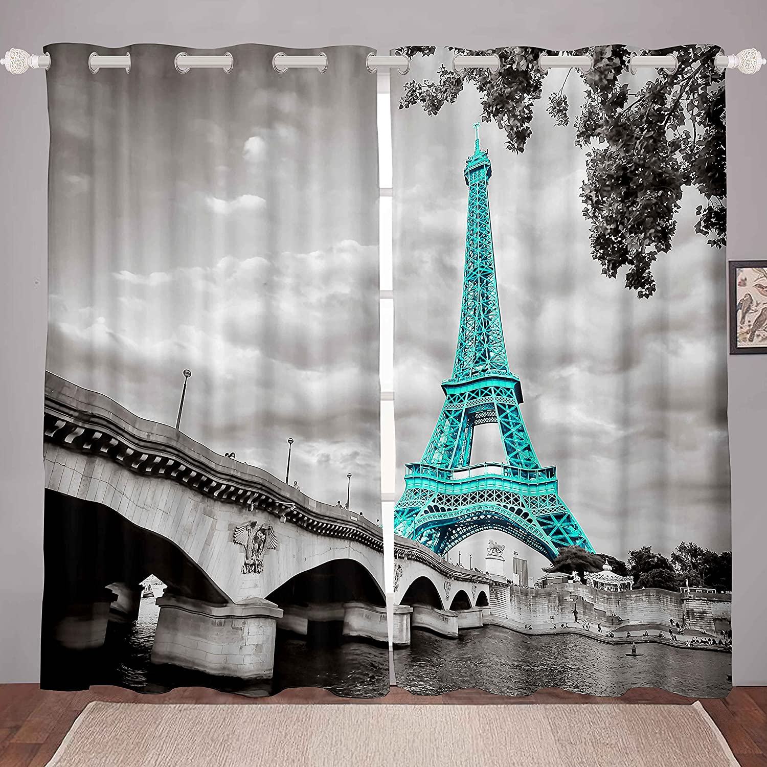 Paris Decor Curtains for Girls Bedroom Chic Eiffel Tower Curtain Gray Teal French Paris Theme Wall Window Drapes Girl Women Retro Romantic Window Treatment Living Room Home (2 Panels, 38 x 45 Inch)