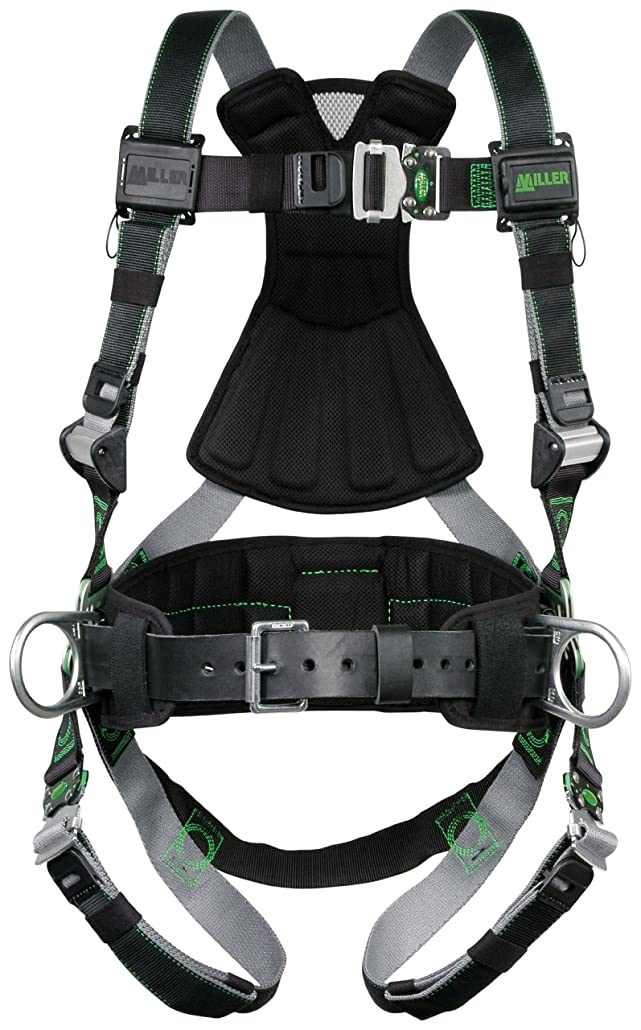 爪長椅子機知に富んだMiller RDT-QC-BDP/XXL/XXXLBK Revolution Harness with DualTech Webbing, Removable Belt, Side D-Rings and Pad and Quick-Connect Buckle Legs, Black, 2X/3X by Miller