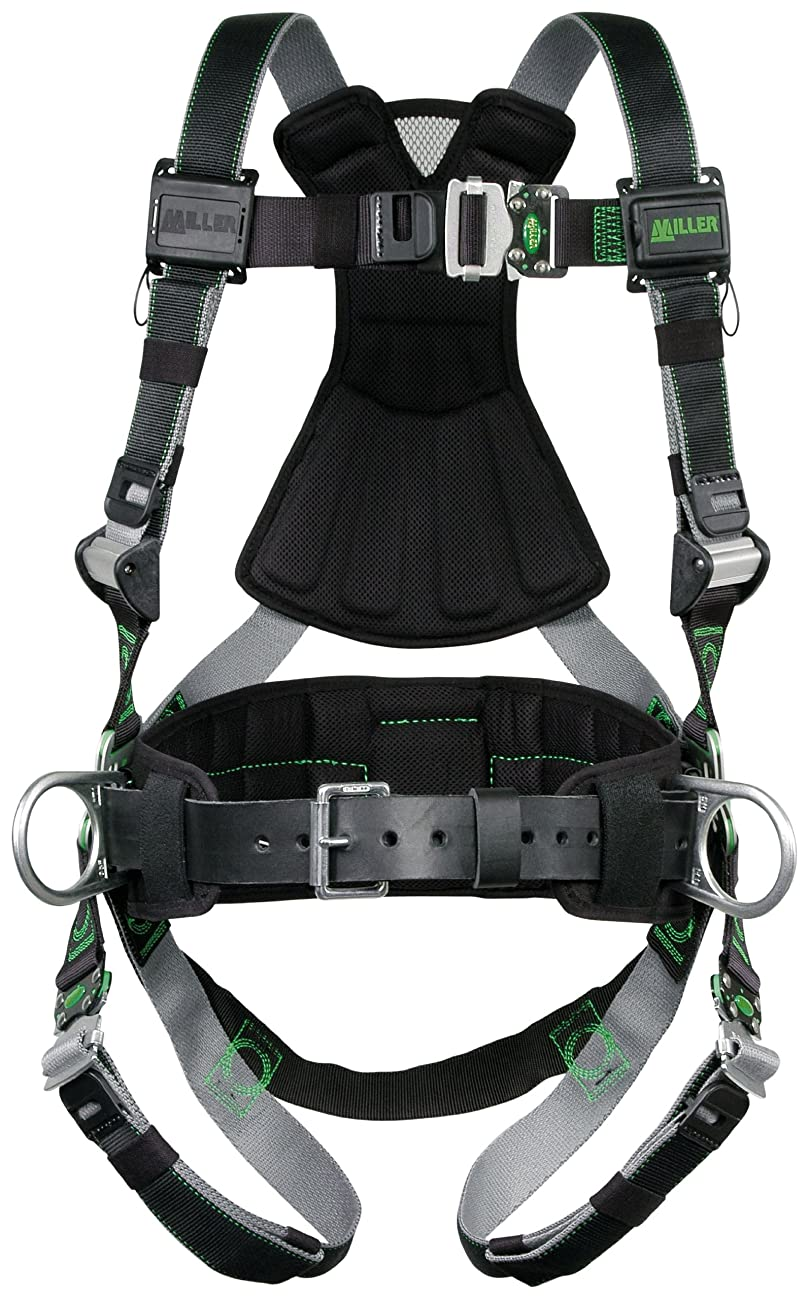 シャイ暗殺造船Miller RDT-QC-BDP/XXL/XXXLBK Revolution Harness with DualTech Webbing, Removable Belt, Side D-Rings and Pad and Quick-Connect Buckle Legs, Black, 2X/3X by Miller
