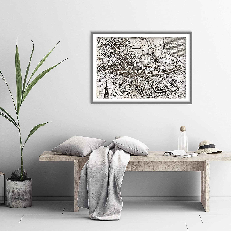 //// TPCK //// P/óster de mapa de Coventry de 1749 42 x 59,4 cm dise/ño vintage con texto en ingl/és Old Ancient Historic tama/ño A2