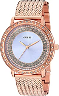 GUESS Women's U0836L1 Dressy Rose Gold-Tone Watch with Blue Dial , Crystal-Accented Bezel and Mesh G-Link Band