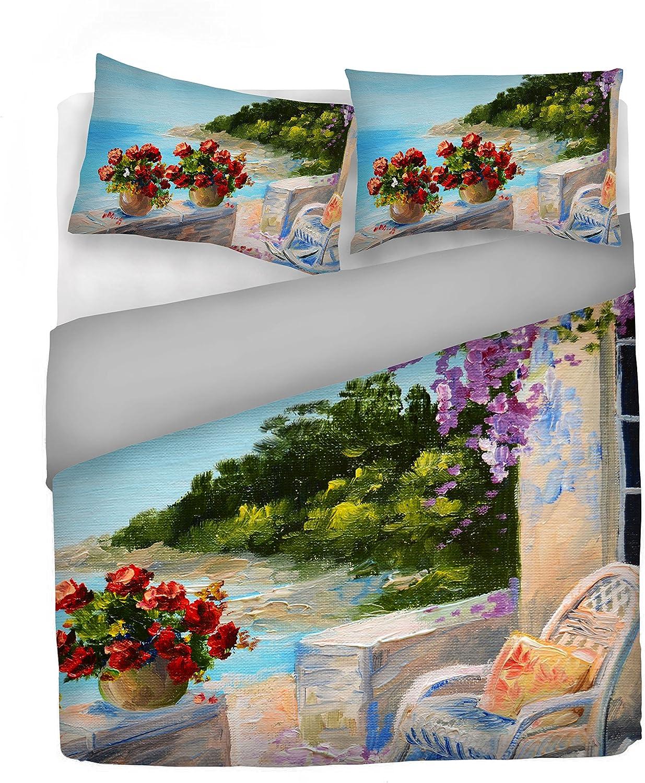 """Italian Bed Linen Housse de couette """"Sogni d'Autore""""avec impression digitale, 100% coton, fabriqué en Italie, 100, SD10, 2 Places Sd14"""